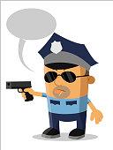 artoon character policeman with a gun