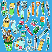 artoon characters of different drawing tools. Pencils, pen and others. School instrument pen with face, vector illustration