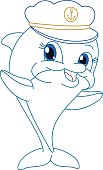 artoon Dolphin, Coloring Page Illustration