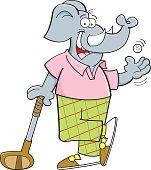 artoon elephant leaning on a golf club.