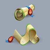 ?artoon scrolls icons . Vector illustration.