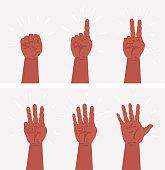 Ð¡artoon set of counting hands.