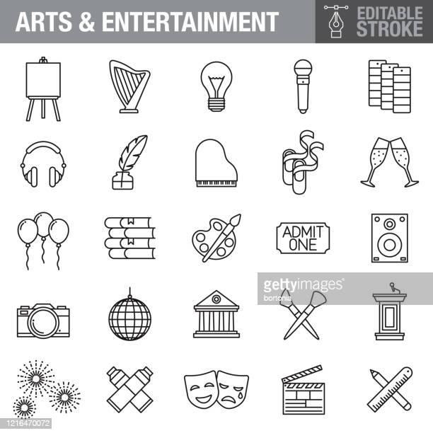 bildbanksillustrationer, clip art samt tecknat material och ikoner med ikonuppsättning för konst och underhållning - gala tilldragelse som firas