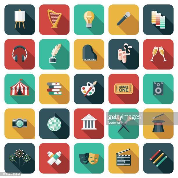 stockillustraties, clipart, cartoons en iconen met pictogram kunst en entertainment - arts culture and entertainment