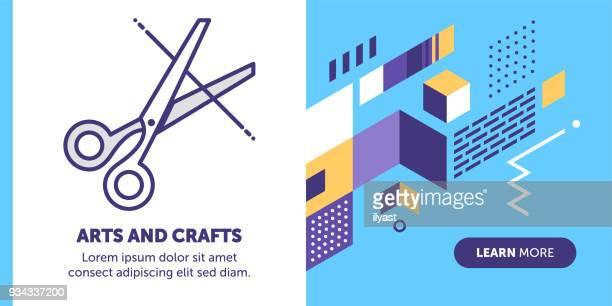 ilustrações de stock, clip art, desenhos animados e ícones de arts & crafts banner - cortar cabelo