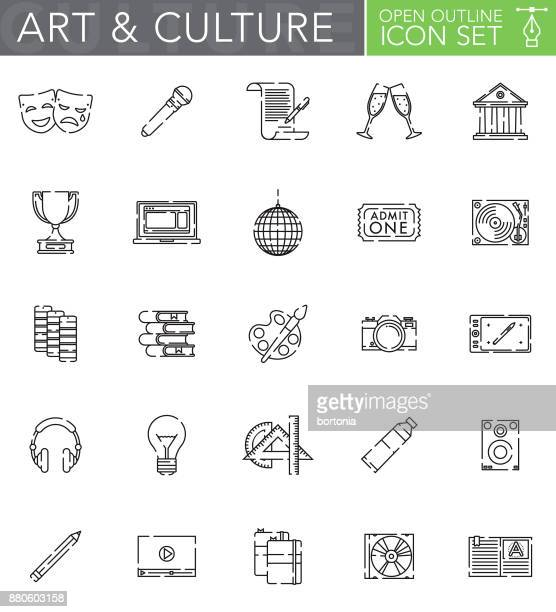 arts & culture open outline icon set in flat design style - actor stock illustrations