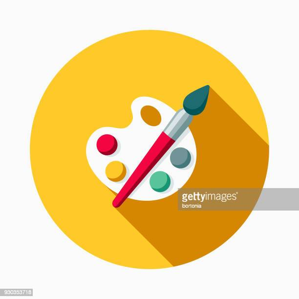 arts flat design school supplies icon with side shadow - art stock illustrations