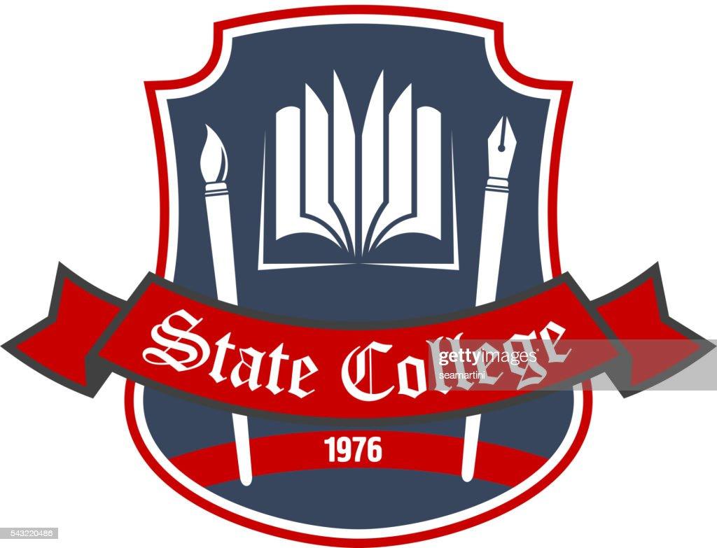 Arts school badge with heraldic design elements