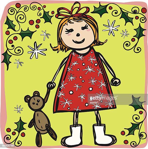 Künstlerischen Weihnachten Mädchen mit Teddy-Bär