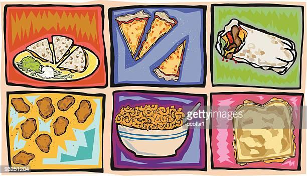 artsy junk food favorites - macaroni stock illustrations, clip art, cartoons, & icons
