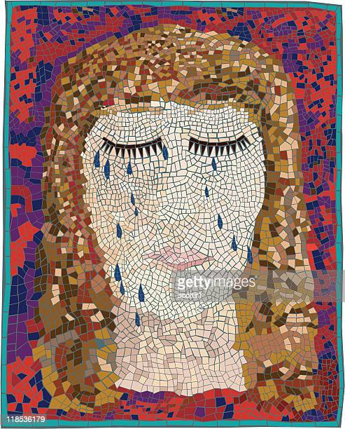 artsy mosaic sad face - fine art portrait stock illustrations, clip art, cartoons, & icons