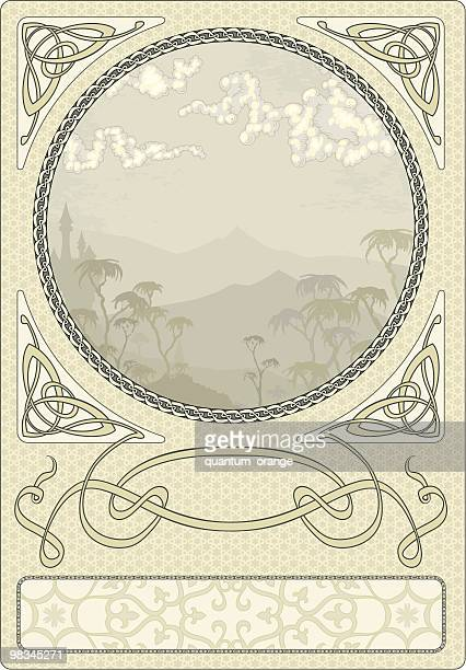 arty nouveau frame - art nouveau stock illustrations, clip art, cartoons, & icons