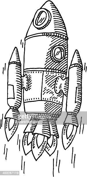 illustrazioni stock, clip art, cartoni animati e icone di tendenza di missile ascendente disegno - missile razzo spaziale