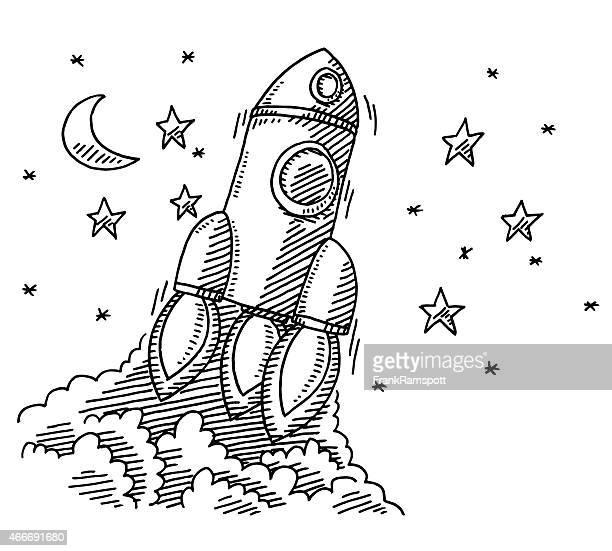 ascending rocket spaceship drawing - frankramspott stock illustrations