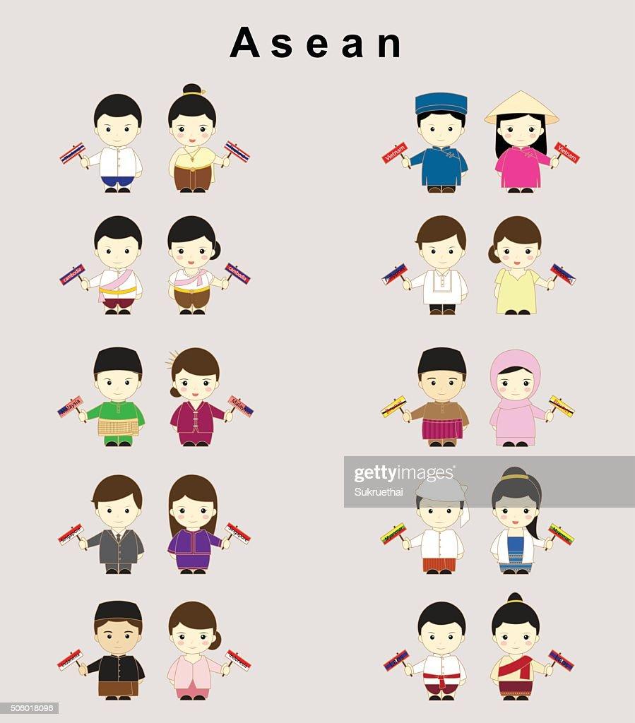 Asean cartoon vector