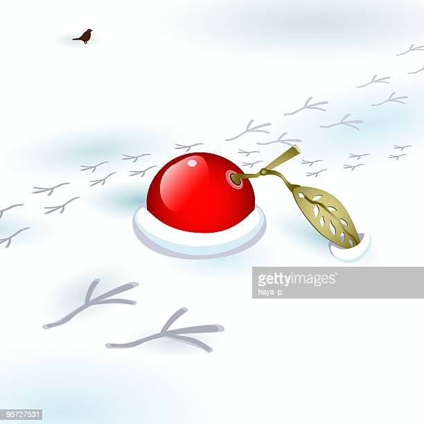 ashberry on snow and tiny bird tracks - animal track stock illustrations, clip art, cartoons, & icons