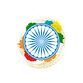Ashok Chakra in Indian tricolor background