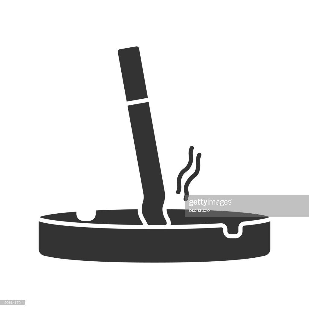 Ashtray with cigarette icon