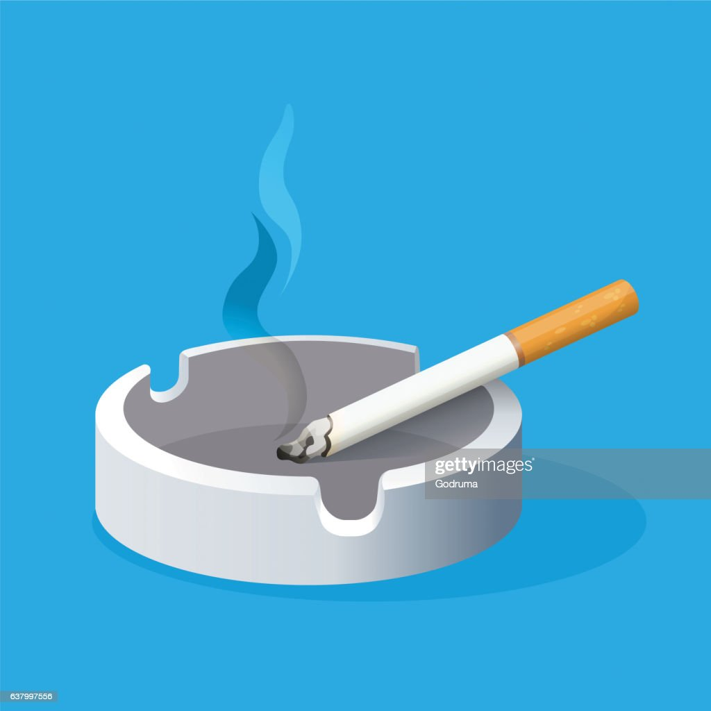 Ashtray with lighted cigarette on blue background. Smoking
