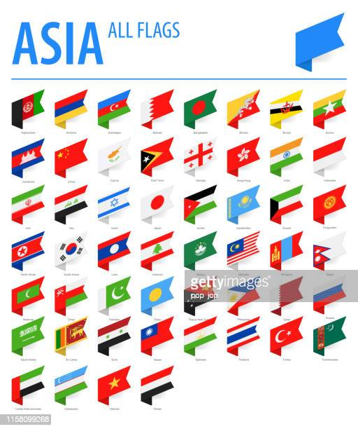 asia all flags - vector isometric label rectangle flat icons - armenian flag stock illustrations