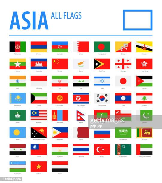 asia all flags - vector rectangle flat icons - armenian flag stock illustrations