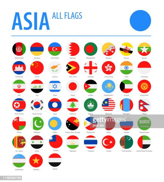 asia all flags - vector round flat icons - flag stock illustrations