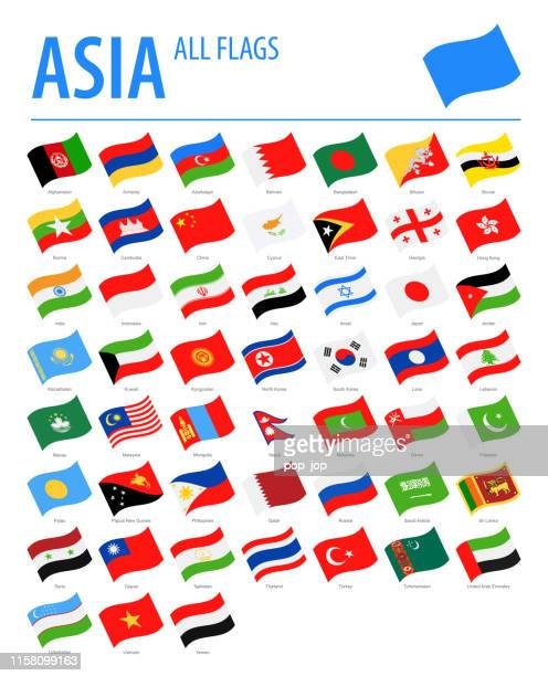 asia all flags - vector waving flat icons - armenian flag stock illustrations