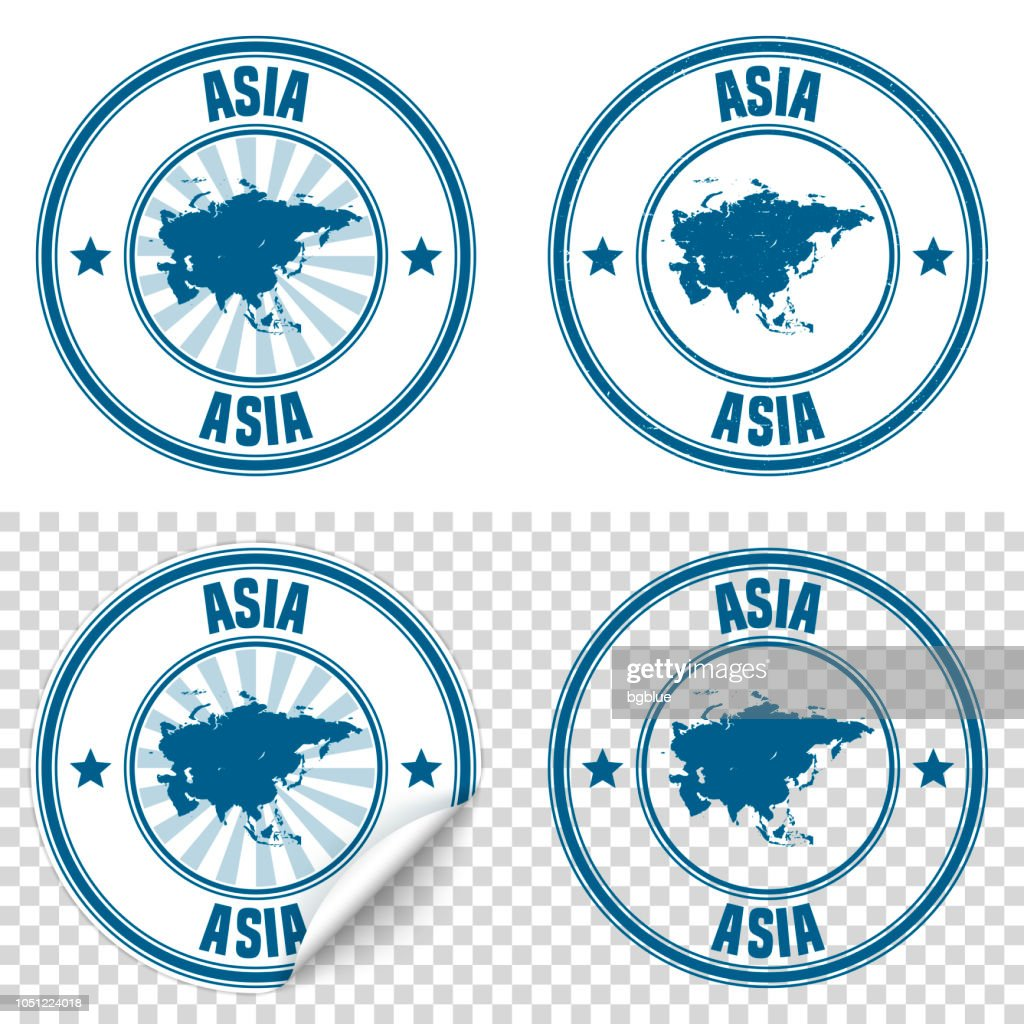 Asia - Blue sticker and stamp with name and map