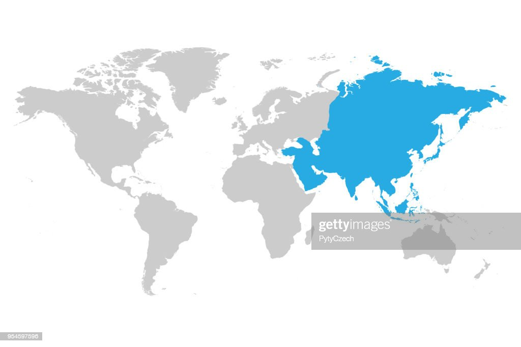 Asia continent blue marked in grey silhouette of World map. Simple flat vector illustration