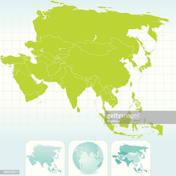 アジア大陸のマップ、グローブセット