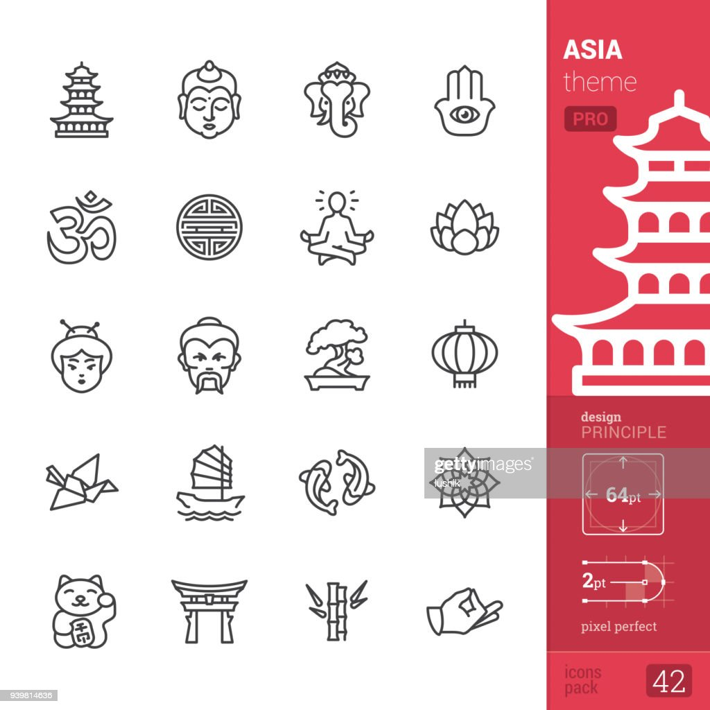 Asia culture, outline icons - PRO pack