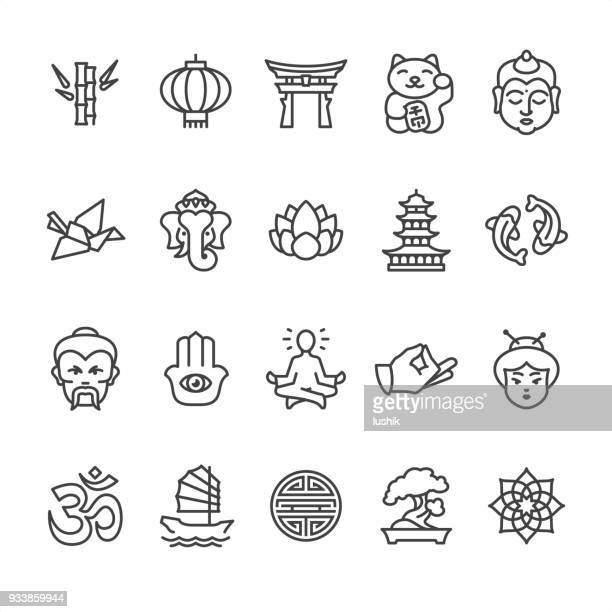 asia culture theme - outline vector icons - figurine stock illustrations, clip art, cartoons, & icons