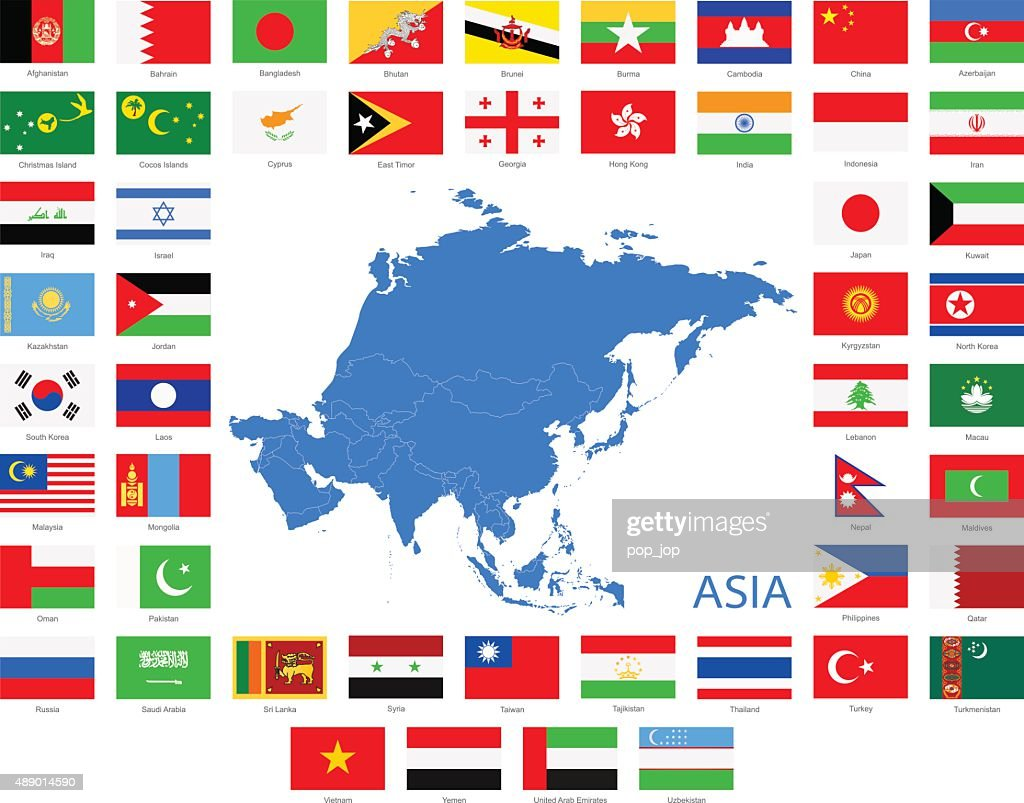 Asia - Flags and Map - Illustration