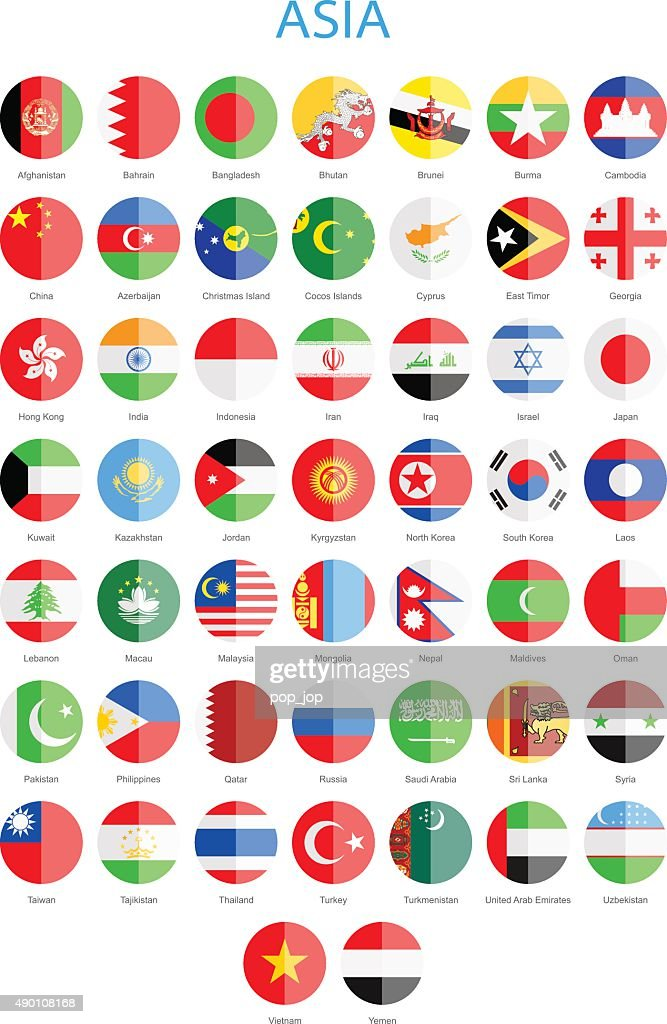 Asia - Flat Round Flags - Illustration