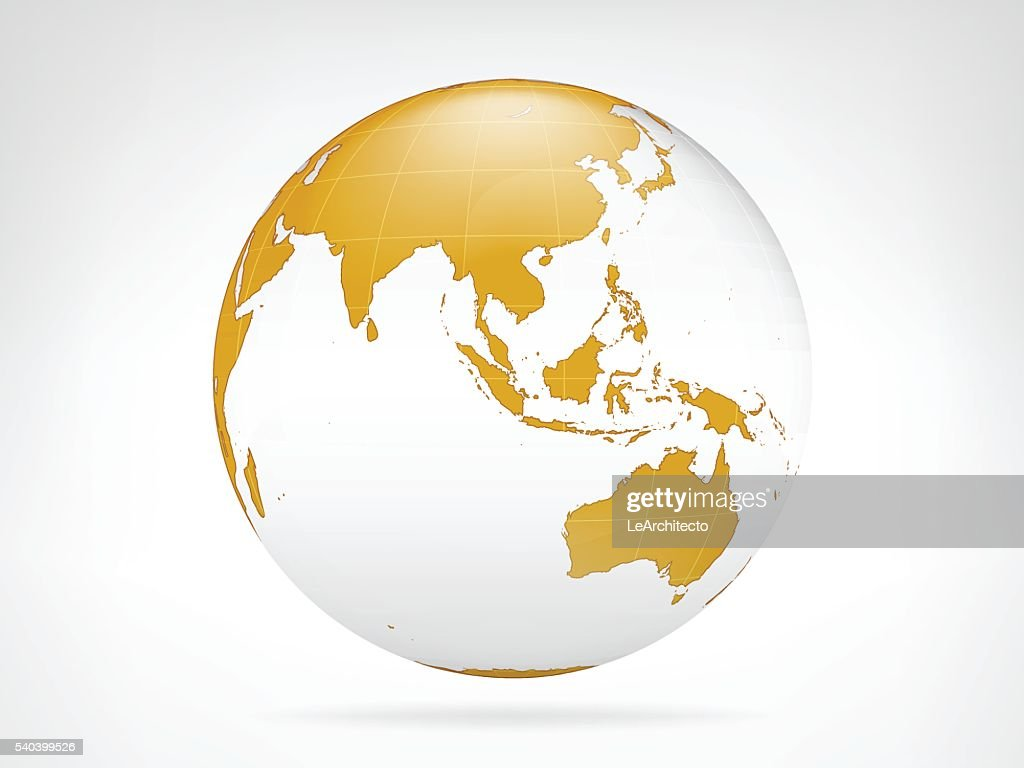Asia golden planet backdrop view vector
