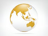 Asia golden planet backdrop view vector