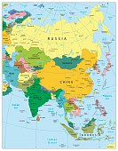 Asia highly detailed political map