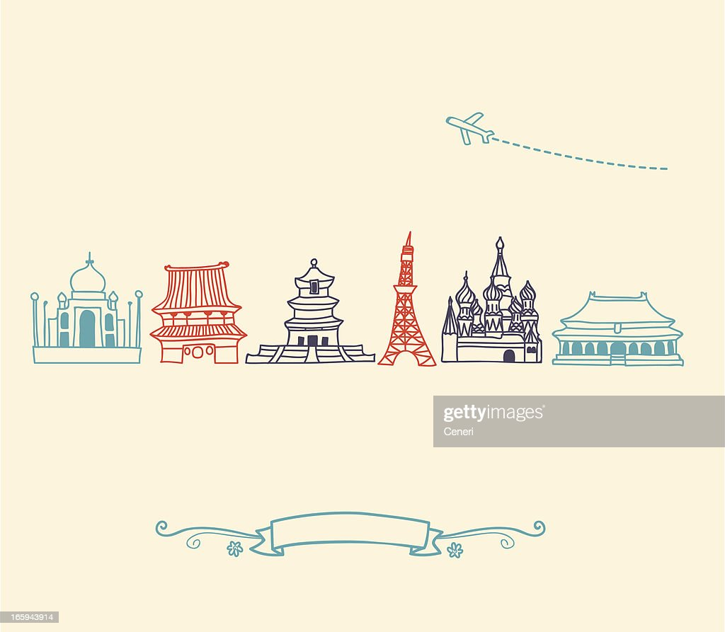 Asia Icons, landmarks and travel destinations cityscape set : stock illustration