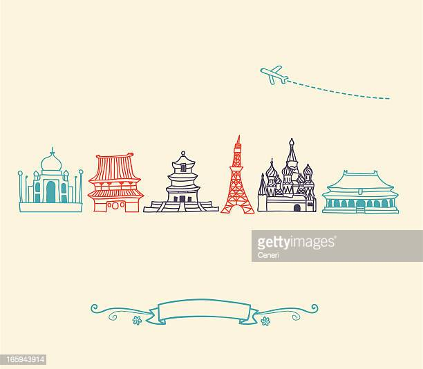 asia icons, landmarks and travel destinations cityscape set - red square stock illustrations, clip art, cartoons, & icons