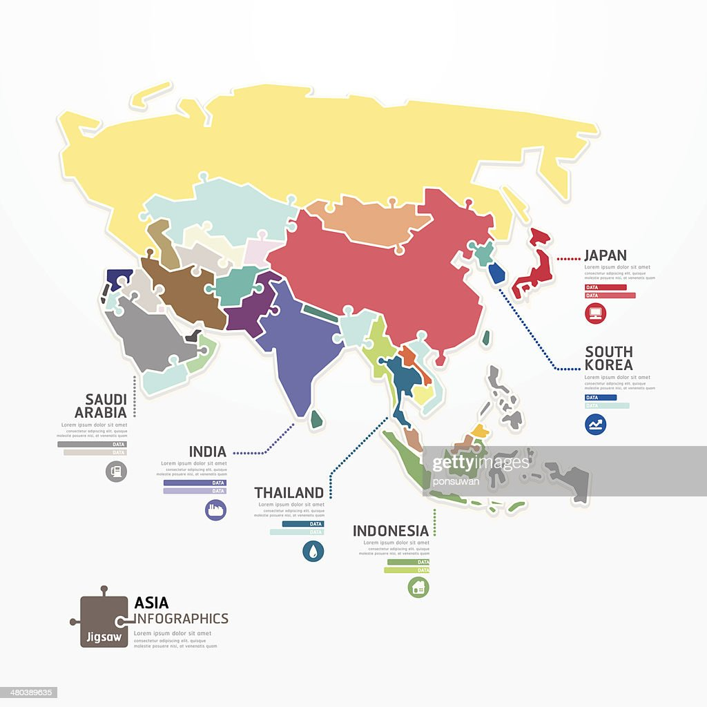 Asia Infographic Map Template jigsaw concept banner.