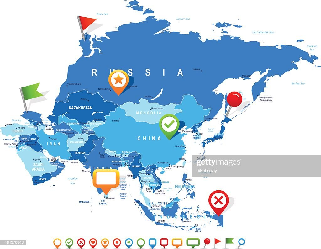 Asia - map and navigation icons - illustration