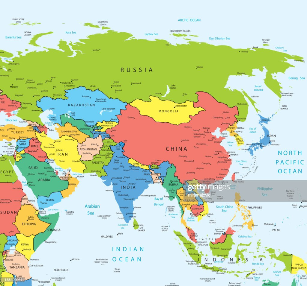 Asia Map Countries And Cities stock illustration - Getty Images