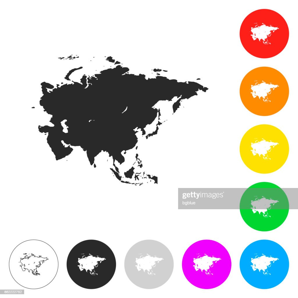 Asia map - Flat icons on different color buttons
