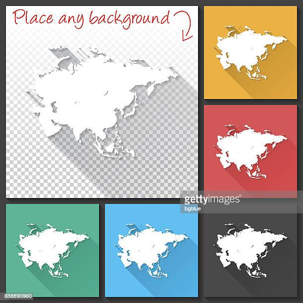 Asia Map for design, Long Shadow, Flat Design