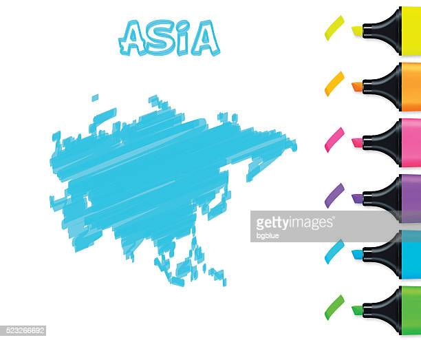 asia map hand drawn on white background, blue highlighter - qatar stock illustrations, clip art, cartoons, & icons