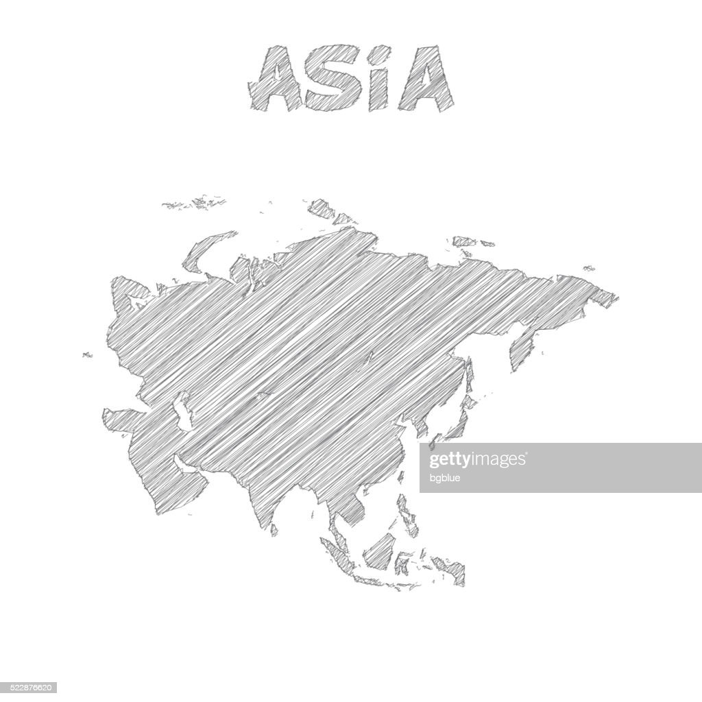 Asia map hand drawn on white background
