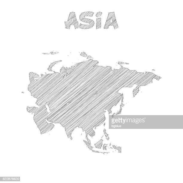 asia map hand drawn on white background - qatar stock illustrations, clip art, cartoons, & icons