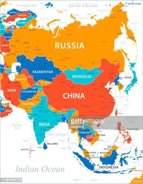アジア地図。アジアの高詳細ベクトルマップ - 国境点のイラスト素材/クリップアート素材/マンガ素材/アイコン素材