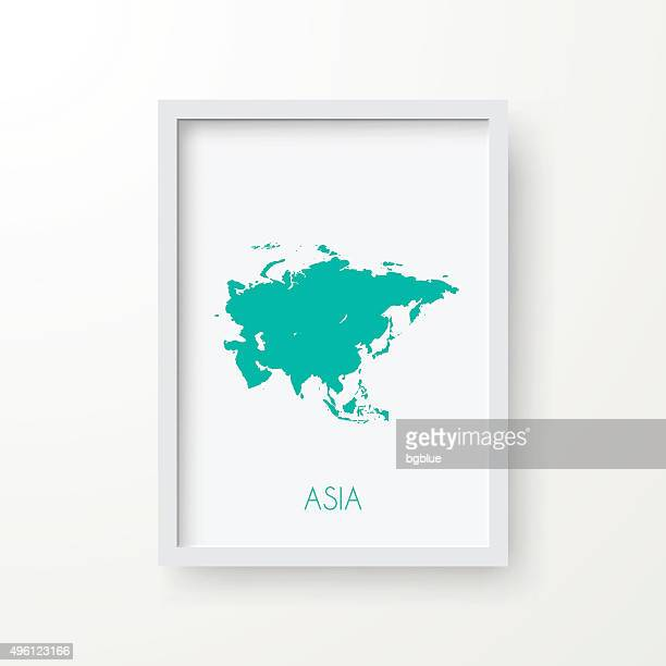Asia Map in Frame on White Background