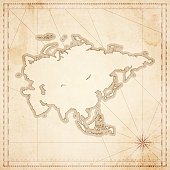 Asia map in retro vintage style - old textured paper